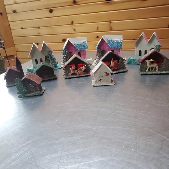 4 Vintage Putz Cardboard Houses & 7 Handmade Japan